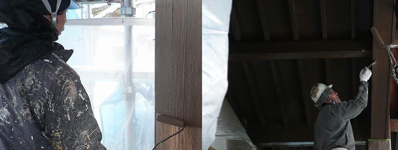しろくまペイントの木部塗装のようす2