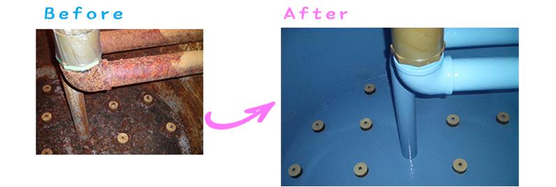 プール濾過層防蝕塗装工事