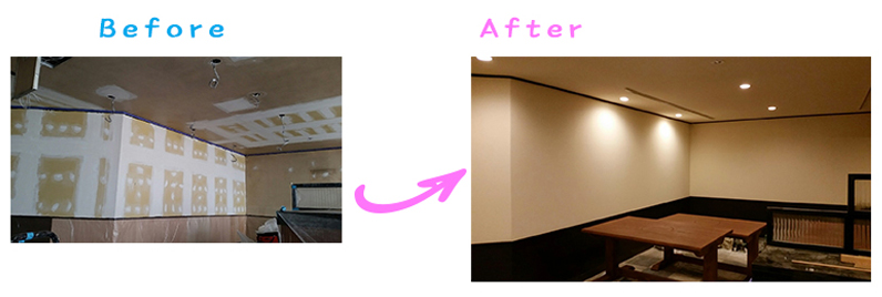 長野県長野市ラーメン店さま内装塗装及び机再生塗装工事