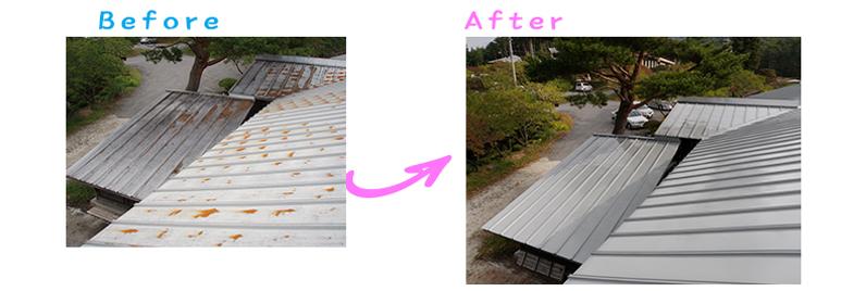 長野県森林総合利用休養施設さま屋根塗り替え工事