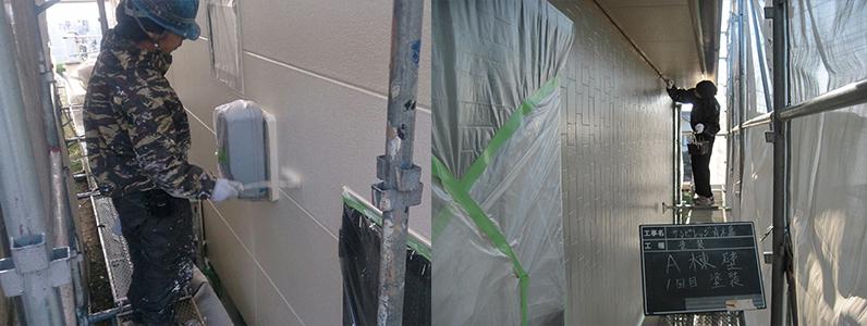 しろくまペイント外壁塗り替えのようすです