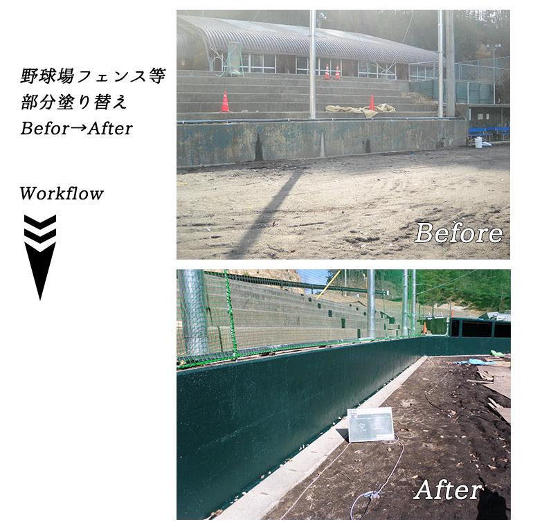 野球場フェンス等部分塗り替え