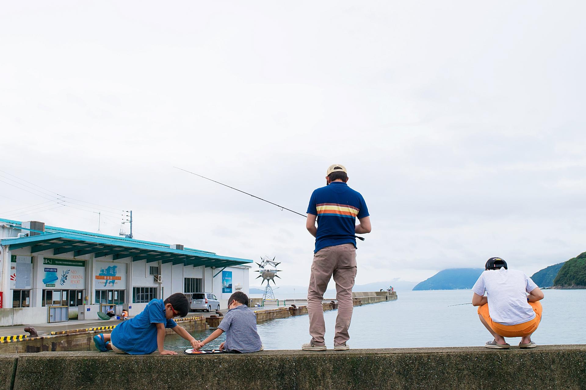 海釣りのようす