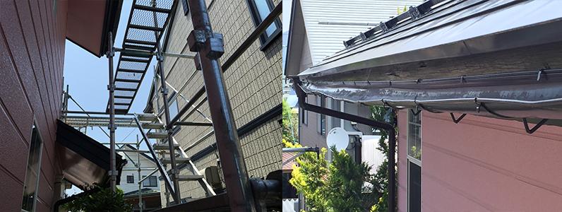 須坂市雨どい工事のようす