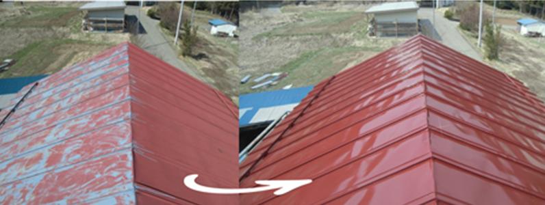 須坂市トタン屋根・塗装前・塗装後
