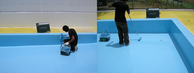 プールイラスト塗装前