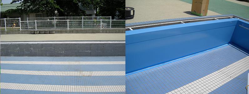 保育園プール壁面塗装工事