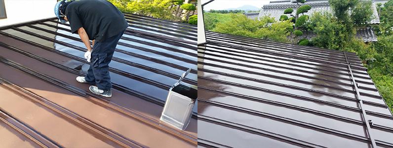 須坂市トタン屋根塗装1