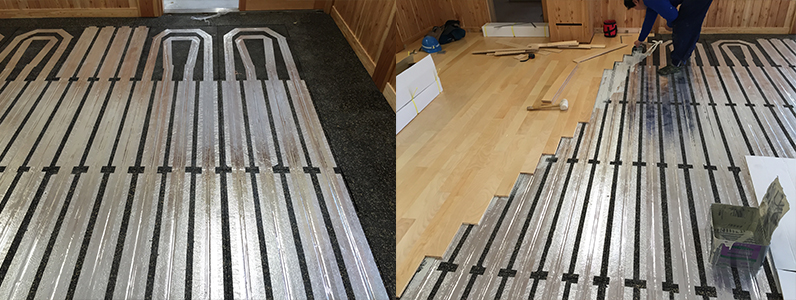 床下時⇒床暖設置⇒フローリング仕上げ張り