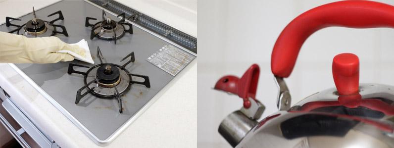 ガスコンロの掃除には料理後に熱湯を活用
