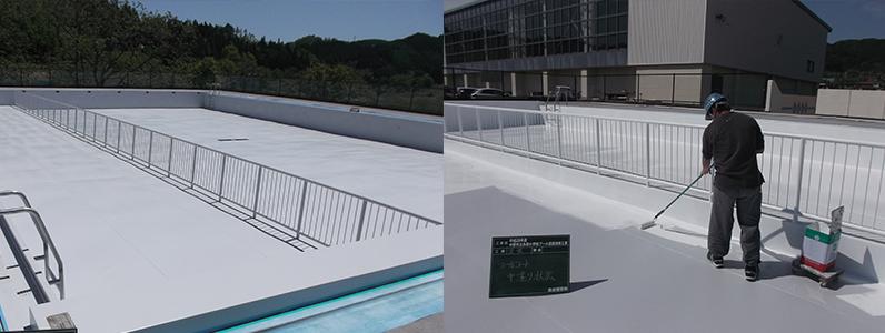 プール中塗り