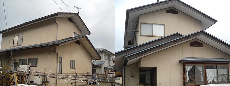 建物全体が色あせているだけでなく、雨だれ等の汚れを確認することができます。※写真は建物外観です