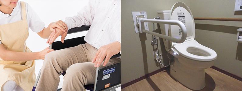 車いすから便座への移乗がしやすいようにトイレのスペースを縦横ともに広くとるという改造も考えます。