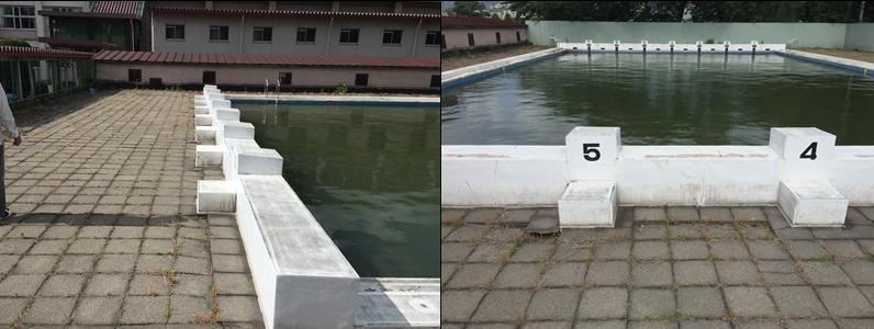 多くのプールが改修時期を迎えていますが、コンクリート製プールを生かしたリニュアールが増えています。 今回の工事は平板補修ですが、いづれプール本体も改修する必要があります。