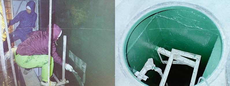 たぶん伊那の衛生センターだと思います。先輩社員曰く、浄水層内部の防蝕工事など多くあったそうです。