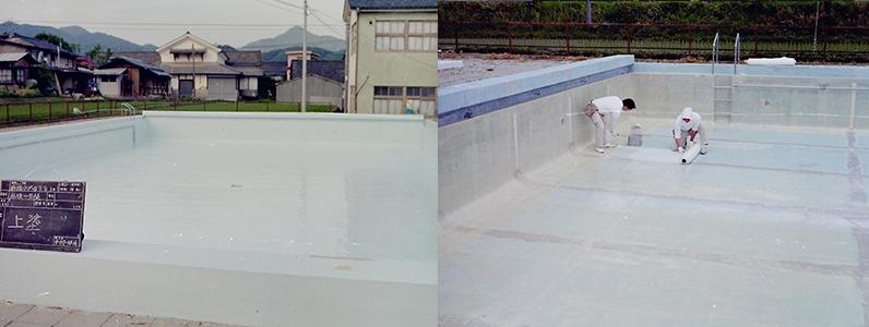 FRPプールライニング工法と呼ばれるもの、当時はモルタルプールを再生するために良く行われていました。