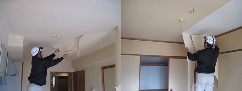 天井部クロス剥ぎのようすです。