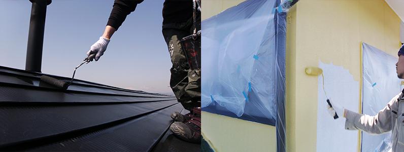 塗装を行う個所は下地処理を行った後に工程を守って塗替えをしていきます。それぞれの素材に合った塗料の選択が重要になります。※左の写真は屋根上塗り作業中です。右の写真は外壁中塗り塗装中です