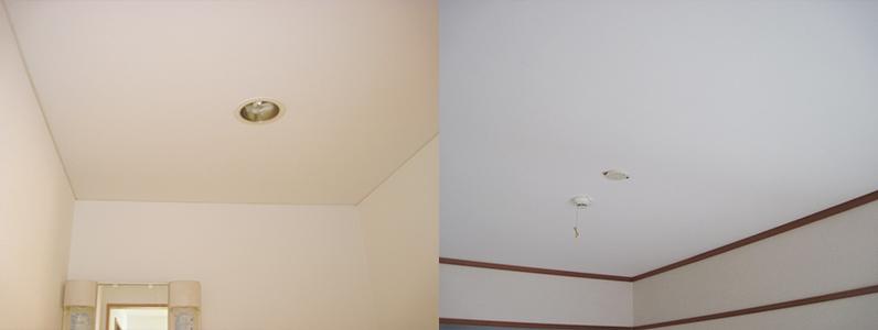 左の写真は洗面所クロス(天井)施工後のようすです。右の写真はDK天井クロス施工後のようすです。