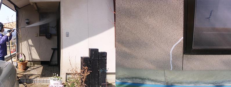 あらかじめ塗装前にクラック(ひび割れ)の補修を行います。その後高圧洗浄をして建物全体の汚れを落とします。 ※左の写真は外壁の高圧洗浄中です。右の写真は外壁のひび割れ補修後