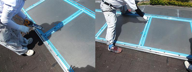 左の写真はコーキング充填のようす。右の写真はコーキングの充填後成形作業のようすです。