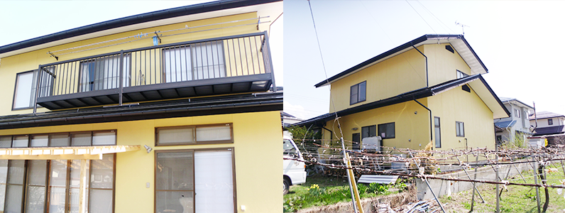 施工前は塗膜が色あせて全体的に暗い印象がありましたが、塗り替え後はお客様が選択された色と相まって明るい建物に生まれ変わりました。※左・右の写真ともに仕上がりのようすです。