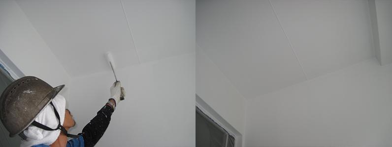 左の写真は天井塗装中、右の写真は天井塗装後です。