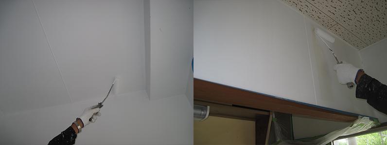 左の写真は天井塗装中、右の写真は壁面塗装中です。
