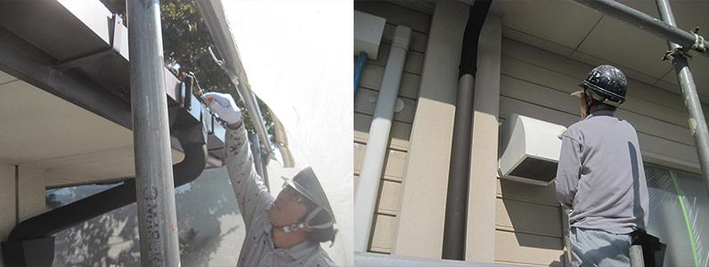 左の写真は軒樋中塗り塗装のようすです。右の写真はフードカバー中塗り塗装のようすです。
