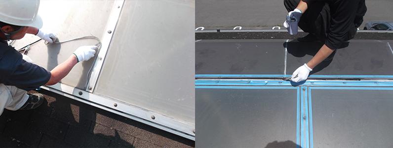 左の写真は古くなった既存コーキングの撤去のようす。右の写真はプライマー塗装のようすです。