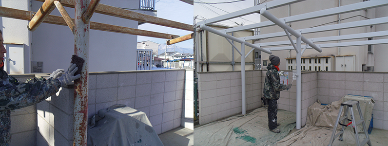 下地調整をした後に三回塗りで塗装を行います。※左の写真は手工具でケレンをしています。右の写真はローラーで塗装作業中
