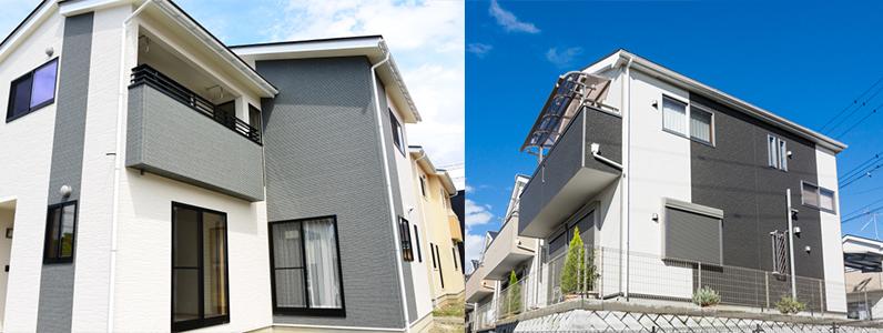 建物をツートンカラーで塗る時には下の方が濃い色で上の方を明るい色にすることで安定して見えます