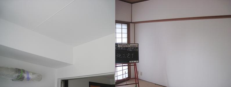 左の写真は洗面所塗装完了後、右の写真は和室塗装完了後です。