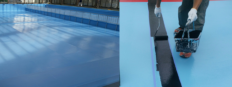 コートラインは前もってテープで養生をしてから塗装を行います。