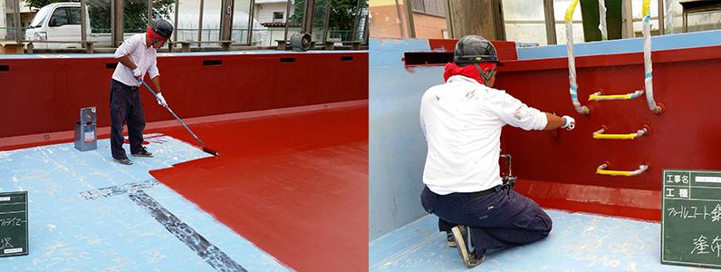 プールは塩素を使用するので、普通の塗料だと傷みやすくなります。そのためプール専用の塗料を使用します。