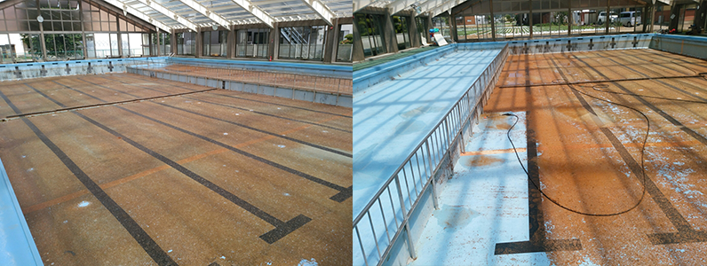 プール施工前のようすです。経年立ったプールは劣化している箇所が見受けられました。全体に汚れが溜まっていて、塗膜も色あせている状態になります。