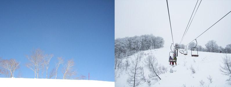 雪とスキーヤー