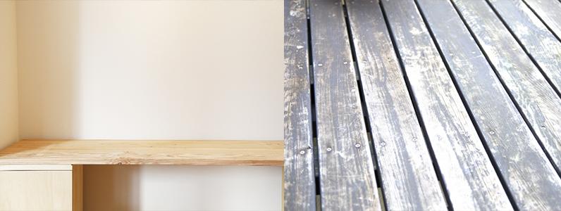 お客様でもある須坂市のS様は、古材をDIYでの家具や棚づくりに活用されています。
