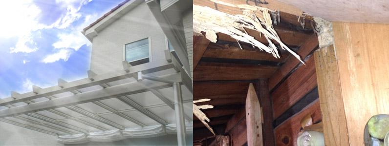 紫外線やシロアリなどの被害を受ける住宅