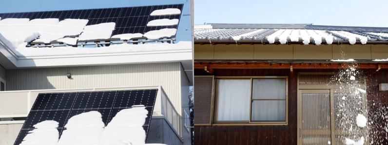 ソーラーシステムに積もった雪