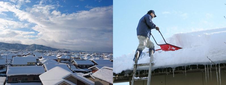 屋根に積もった雪