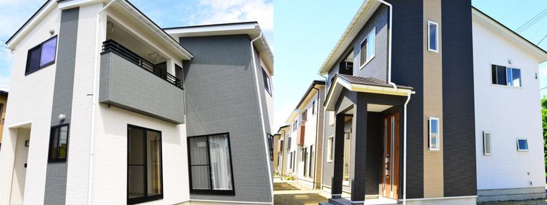色を複数使った住宅