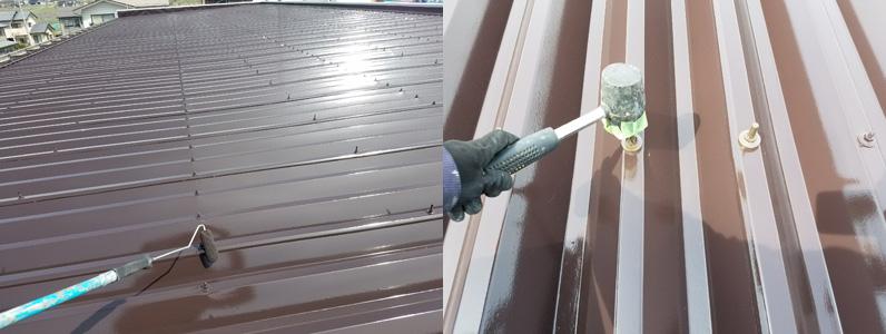 上塗り作業中、ボルトキャップ取付