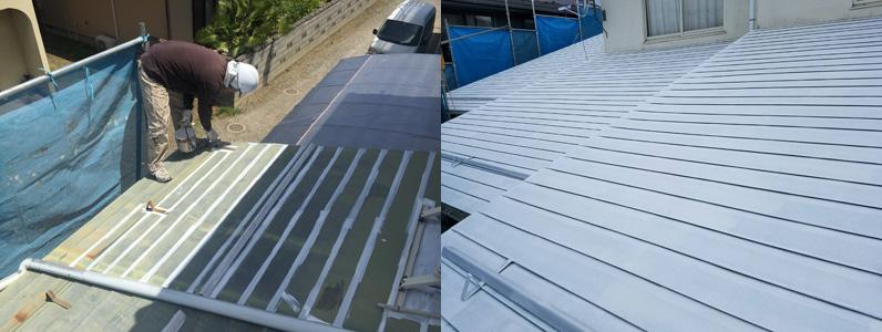 屋根塗装-サビ止め塗布