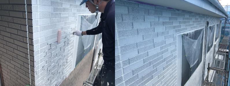 外壁塗装施工中②