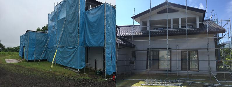 御代田町E様邸外壁塗装工事・仮設足場の設置