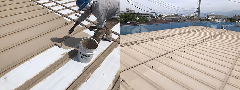 長野市A様邸屋根・外壁塗装工事・屋根中塗り