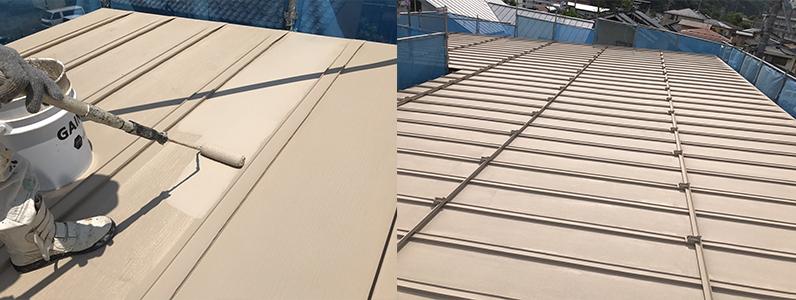長野市A様邸屋根・外壁塗装工事・屋根上塗り