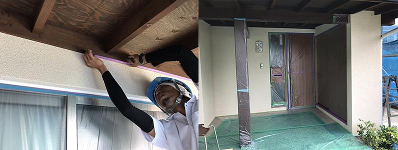 長野市A様邸屋根・外壁塗装工事・各所養生