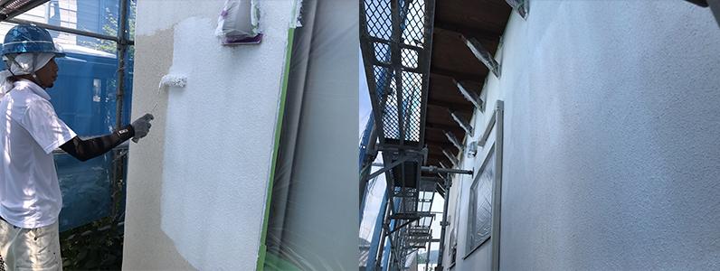 長野市A様邸屋根・外壁塗装工事・外壁下塗り